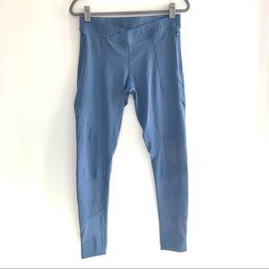 Adidas blue mesh panel workout leggings yoga pants